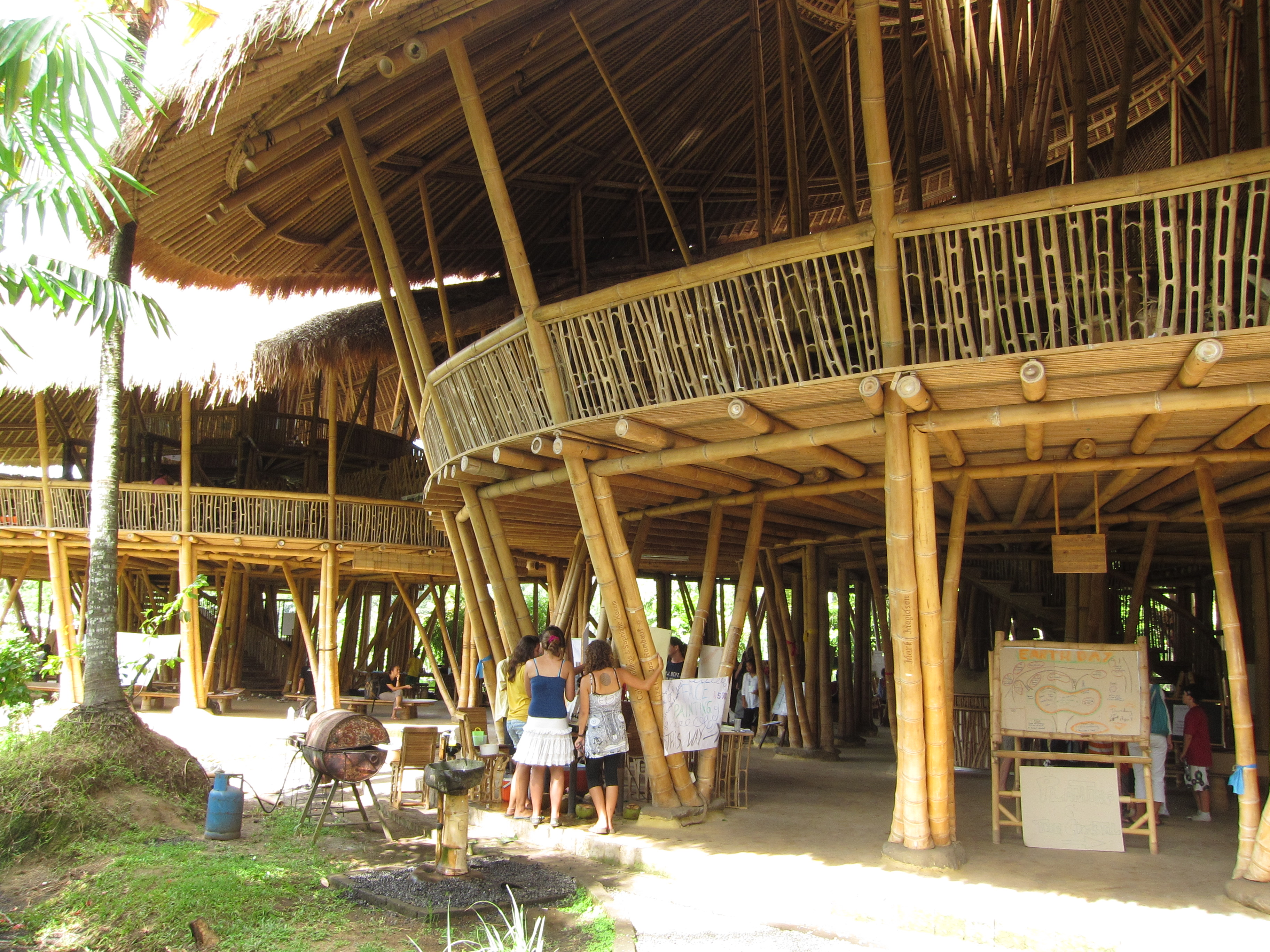 The schools main building and the largest bamboo building in the world. This photo only captures 1/3 of it.
