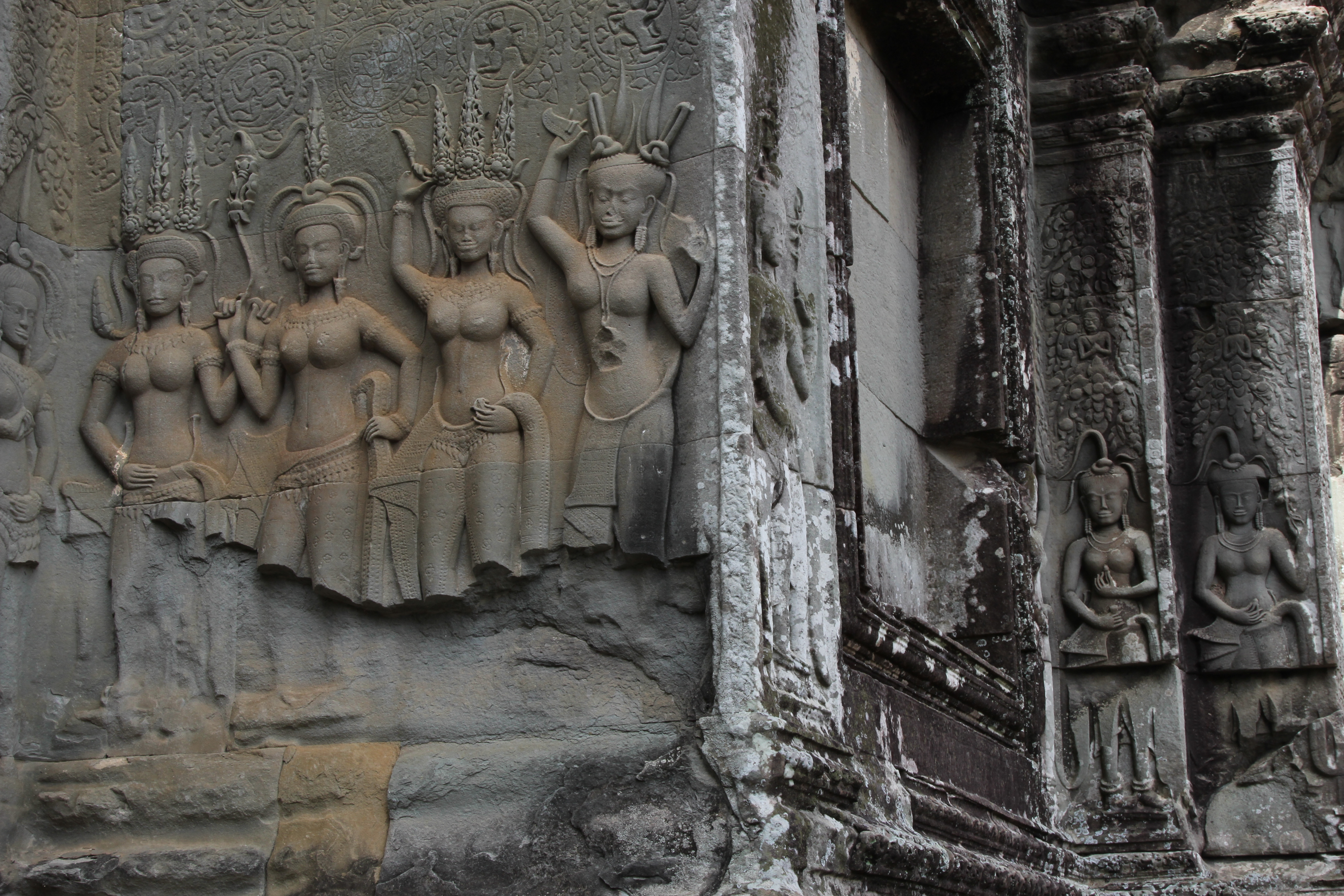 Apsaras or heavenly nymphs on the walls of Angkor Wat.
